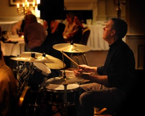 Gavin drumming at a wedding